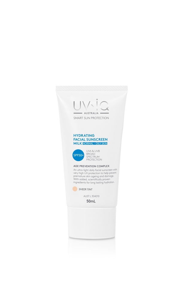 UV-iQ Hydrating Facial Sunscreen Milk SPF50+ for Normal Oily Skin - Sheer Tint